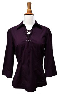 Gloria Vanderbilt London Fitted New Tie Neck Top Maroon