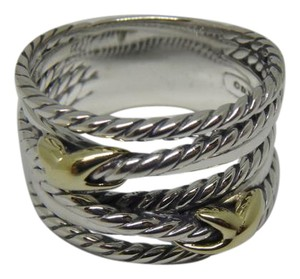 David Yurman Gold and Silver Double X Ring