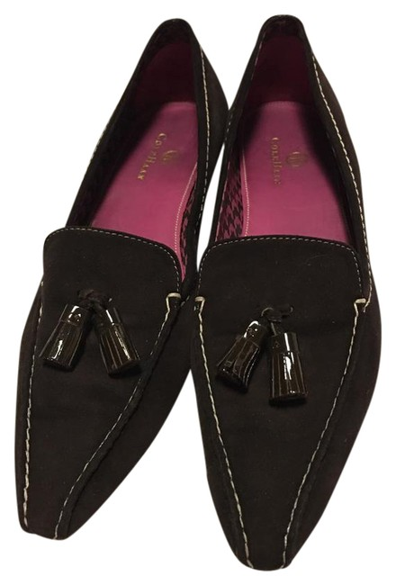 Item - Brown Suede Leather Tassel Loafer with White Stitching Wood Kitten Heel Pumps Size US 6.5 Regular (M, B)