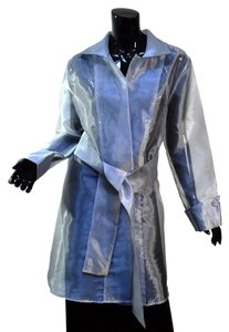 Tabi Canada Mesh Sheer Sashed Evening Duster Silver Gray Jacket