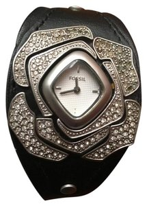 Fossil Black Rhinestone Rose Watch