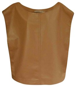 Robert Rodriguez Leather Faux Leather Shell Work Date Top Nude