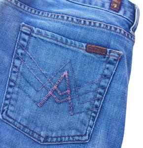 7 For All Mankind Denim Stonewash Skirt blue