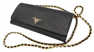 Prada Wallet Leather Chain Cross Body Bag