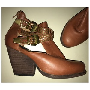 Jeffrey Campbell Vintage Watson Orange Ankle Booties Strappy Cut Out 6.5 Camel Boots