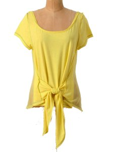 Anthropologie Chiffon Back T Shirt NWT Yellow