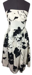 Barneys New York Retro Floral Strapless Silk Formal Dress