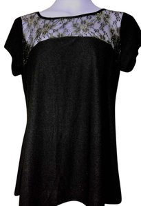 Other Netting Floral Metallic Top Black & Gold
