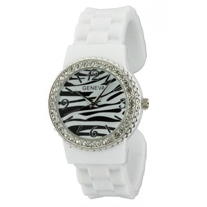 Geneva Crystal Embellished Bangle Style Watch w/ Zebra Print