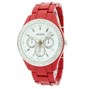 Geneva Classic Round Face Steel Watch w/ Crystal Accents
