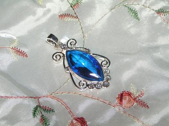 Silver/Blue Bogo Free Pendant W/Free Chain Shipping Necklace