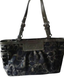 Coach 14281 Signature Jacquard Ew Gallery East West Tote in Grey and Blue