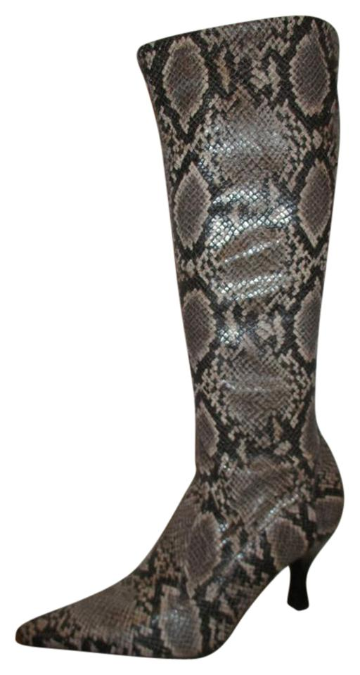 8f44dc7a1c8 Franco Sarto Brown   Tan Python Print Embossed Stretch Boots Booties. Size  US  8.5 Regular (M ...