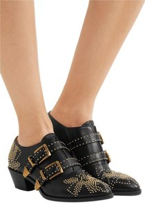 Chloé Chic Leather Studded Black and Gold Boots