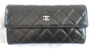 Chanel CHANEL Black Quilted Leather Long Flap Wallet
