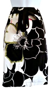 Willi Smith Abstract Floral Printed Midi Pencil Skirt Black