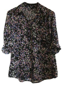 Express Portofino Top Black with Pink/Blue/White Floral Print