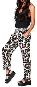 Show Me Your Mumu Jungle Boho Printed Shade Chic Pocket Banded Cheetah Leopard Capri Trouser Pants Brown