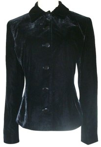 Ralph Lauren Lauren Velvet Button Front Fitted Lined Black Blazer