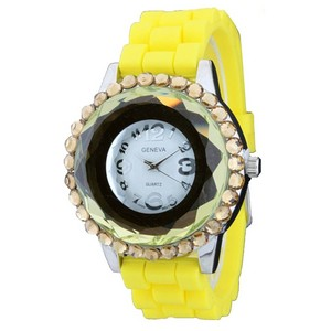 Geneva Jeweled Round Face Watch w/ Crystal Accents