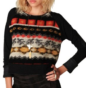 Free People Pieced Heavy Knit Textured Fuzzy Boho Long Sleeve Patched Fairisle Festival Sweater