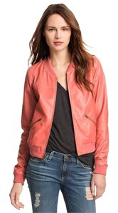 Trouvé Leather Bomber Coral Leather Jacket
