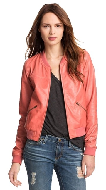 Preload https://item2.tradesy.com/images/trouve-leather-bomber-coral-leather-jacket-2084126-0-0.jpg?width=400&height=650