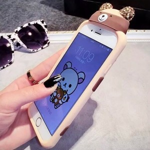 Other Lovely Brown Bear with removable bling bling ear caps phone case for iphone 6/6s