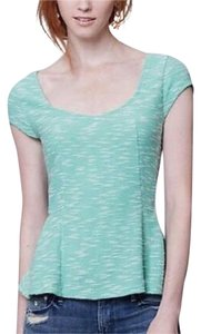 Anthropologie Top Green/White Marled
