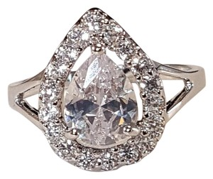 Other Radiant Water Drop CZ Silver Plated Ring Size 7