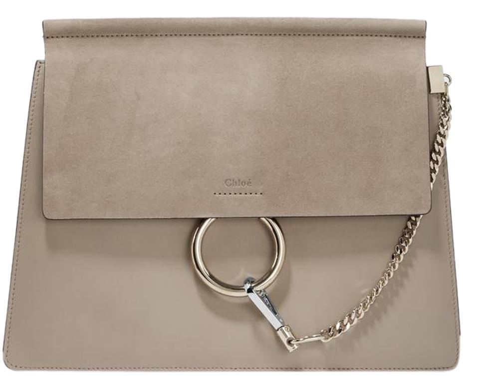 Chloé Faye Medium Gray Leather and Suede Shoulder Bag - Tradesy b27bfe9917d7e