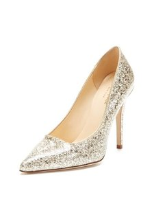 Kate Spade New York Lollipop Clear Coat Gold Glitter Pumps