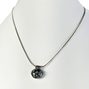 Other Snowflake Obsidian Cabochon Pendant Necklace