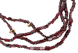 Freeform Genuine Red Garnet Infinity Necklace w/Gold Nuggets-46