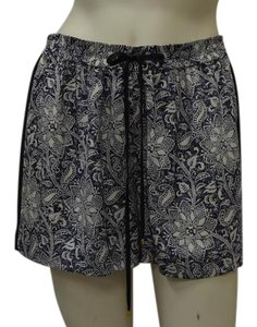 Rebecca Taylor 100% Silk Side Stripe Detail Drawstring Waist Flower & Star Print Fully Lined Mini/Short Shorts Navy Star/Flower
