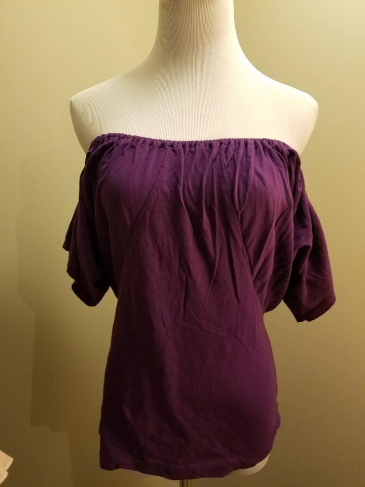 11b2fbc2d8c9 New York   Company Royal Purple Verseatile Ruffly On Or Off-shoulder Blouse