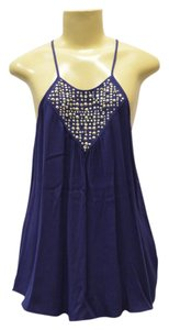 Rebecca Taylor Spaghetti Flared Fit Stud Accent Top Dark Blue