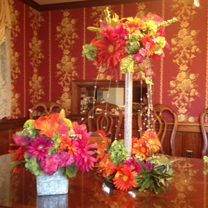 Pink And Orange Silk Floral Centerpieces