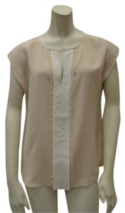 Rebecca Taylor 100% Silk Round Neck W/v Slit Pleated Front Detail Cap Sleeves Pleated Back Top Beige/Ivory