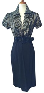 Frank Lyman Ruffle Striped Belted Shortsleeve Day To Evening Dress