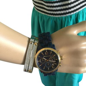 Michael Kors NWT Audrina Chronograph Blue Dial Blue Acetate watch MK6236
