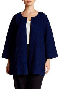 Eileen Fisher Textured Fabric Rich Indigo Dropped NWT Blue Jacket