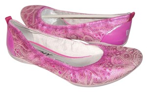 DKNY Laser Cut Ballet Leather Pink/Gray Flats