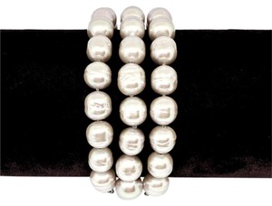 Majorica Majorca Three-Row Simulated Grey Baroque Pearl Bead Bracelet