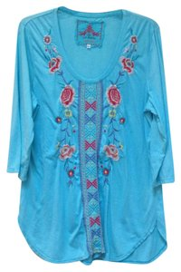 Johnny Was Embroidered Floral Scoop Neck 3/4 Sleeves Cotton T Shirt Aqua