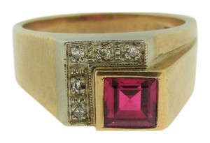 Other Vintage Geometric Diamond And Ruby Ring- 10k Yellow Gold