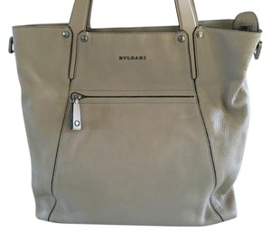 BVLGARI Octo Leather Tote in Artic Ice / Beige