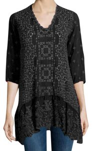 Johnny Was 3/4 Sleeve V-neck Eyelets Embroidered Split Hem Tunic