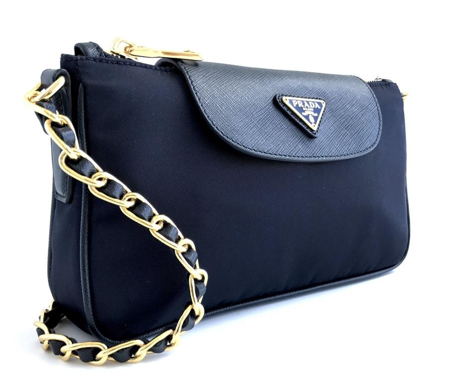 dd86ddbf5fea Prada Bandoliera Tessuto Saffiano Navy Blue Nylon Cross Body Bag ...