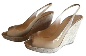 Christian Louboutin Louboutin Patent Leather Une Plume Slingback Tan Wedges